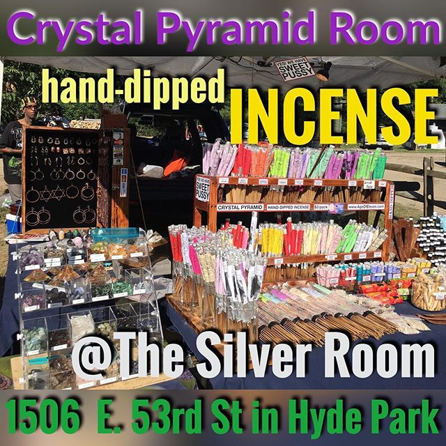 Great news! You can now stock up on all the #SweetPussy, #Chronic, #MangoButter, #Frankincense, #Sandalwood and all your favorite Crystal Pyramid Room incense scents live at The Silver Room in Hyde Park!  @thesilverroom is located at 1506 E. 53rd Street in the heart of Hyde Park.  You're welcome, Chicago.  #handcrafted #handdipped #incense #silverroom #thesilverroom #silverroomblockparty #chicago #boutique
