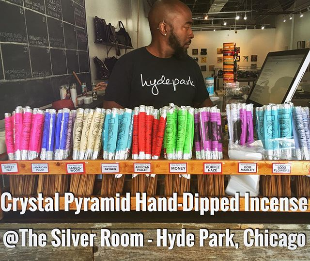The Silver Room in Hyde Park has been restocked with a fresh batch of new #handmade #incense scents!  What's new this weekend? Try our classic #Sandalwood, and our custom blend of Sweet Nut incense. Up your #meditation practice with our #Frankincense blend, and #channel the #magic of #love with our #Hendrix-inspired #PurpleHaze.  #chicago #handdipped #handrolled #handcrafted #money #jamaican #plum #oxygen #bobmarley #marley #1000flowers  #chakra #spirituality #silverroom #thesilverroom #hydepark #chicago #southside #shop #boutique #crystalpyramidroom