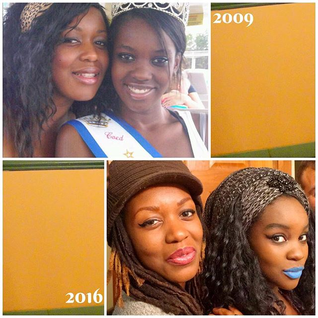Sisters then and now!  The 2009 photo was when Chloe won Miss Illinois and we all went down to Florida for the pageant at Disney World.  Fast forward seven years and now I'm the mama of a 3-year-old and she's 21 weeks pregnant with her first child! #life  Of course my young sis is a September #Virgo to my May #Gemini. #mutablemagic  Giving thanks for #family. 🇿🇲 #dubchallenge #sisters #sis #siblings #fam #african #zambian #tumbuka #bemba #blackgirlmagic #melaninmagic #og #mutable #hellidays #holidays #thenandnow #fierce #fab #love