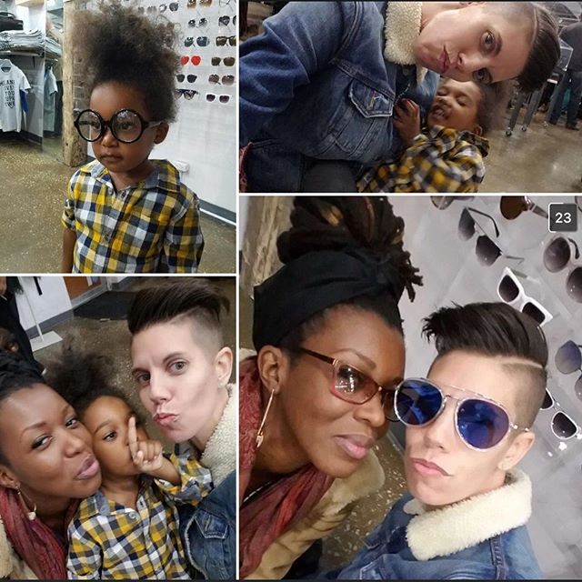Throwback to the one time C and I accidentally crashed the November #GrownFolksStories official with a toddler in tow.  Eleven is a bad #Trini gyal #tomboy and she ain't studyin nobody, tho. She jus dey trynna model all d daakas (sunglasses). We level.  Antics ensued, tho, including C dragging my #threenager across the floor because she wanted to roll around under the display cases. Lawd.  Never a dull moment.  Cara @lamb_to_lion was phenomenal as always, as were the few stories we heard whilst being stealth listeners in the back for a minute before dippin out.  Love my community.  #thesilverroom #hydepark #chicago #community #circles #accessories #harrypotterglasses #sunglasses #apparel #melaninmagic #melaningivesyousuperpowers #freebreakfastapparel #FBFC #tomboystyle #loveislove #noh8 #familia #trinigyal #toddlerlife #toddlerstyle #momlife #mamahood #eleven #ageofeleven #throwbackthursday #TBT