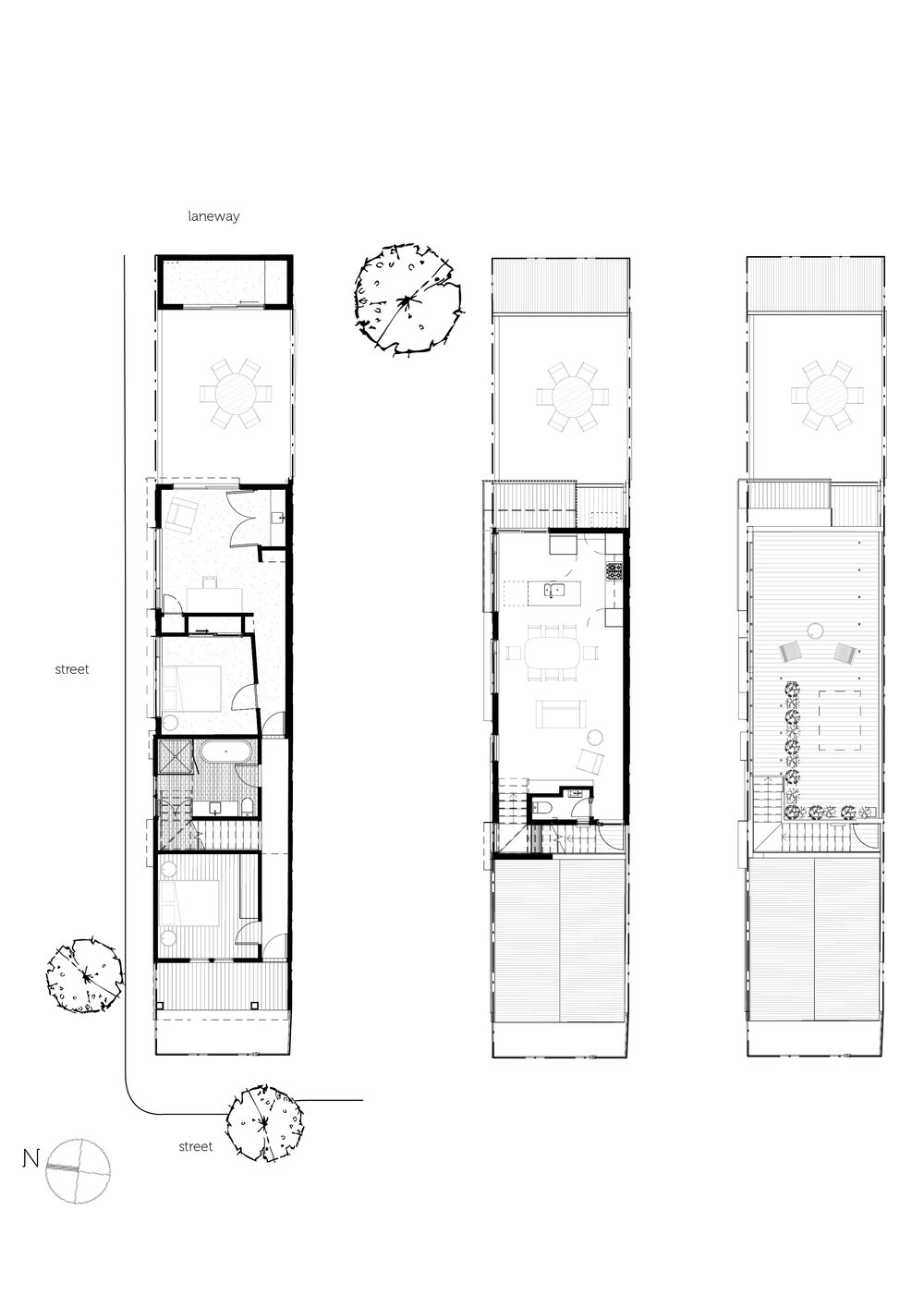 Ground, First and Second Floor plans