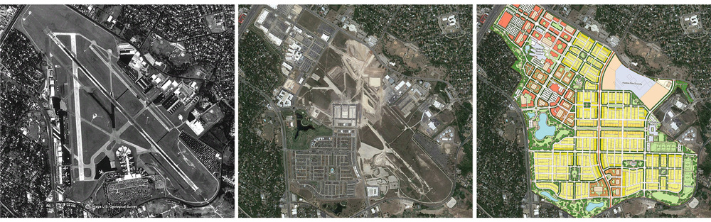 The Mueller Airport, in 1995, 2012, and its full build-out masterplan  [image by the author using images by Google and ROMA]