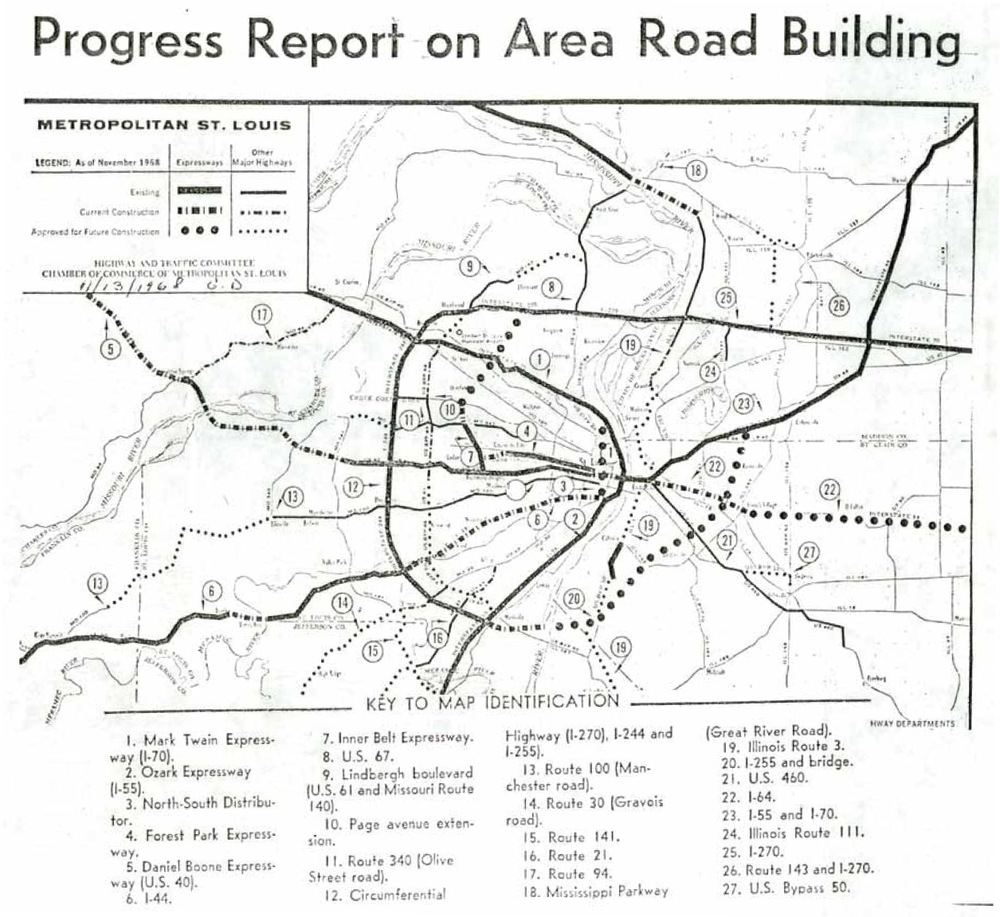 """Progress Report on Area Road Building."" Saint Louis Post-Dispatch, November 13, 1968.  Courtesy of Missouri Historical Society, St. Louis Streets & Roads Scrapbook, Vol. 2.  9."