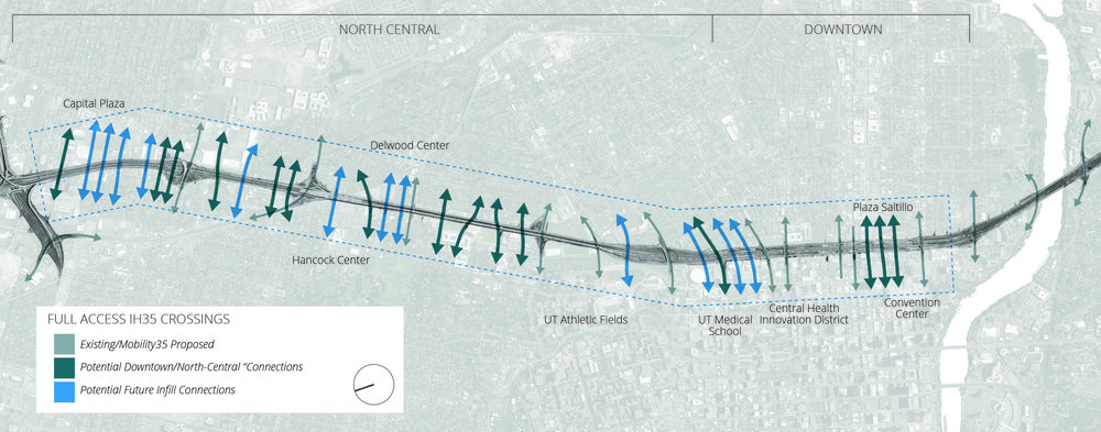 potential expanded crossings with lowered ih35 image by the author using google maps