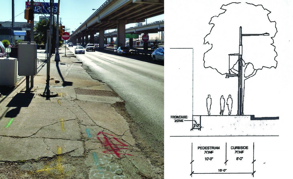 existing frontage road accessibility and city of austin great streets section image credits (Left to right): author, City of Austin great streets development program