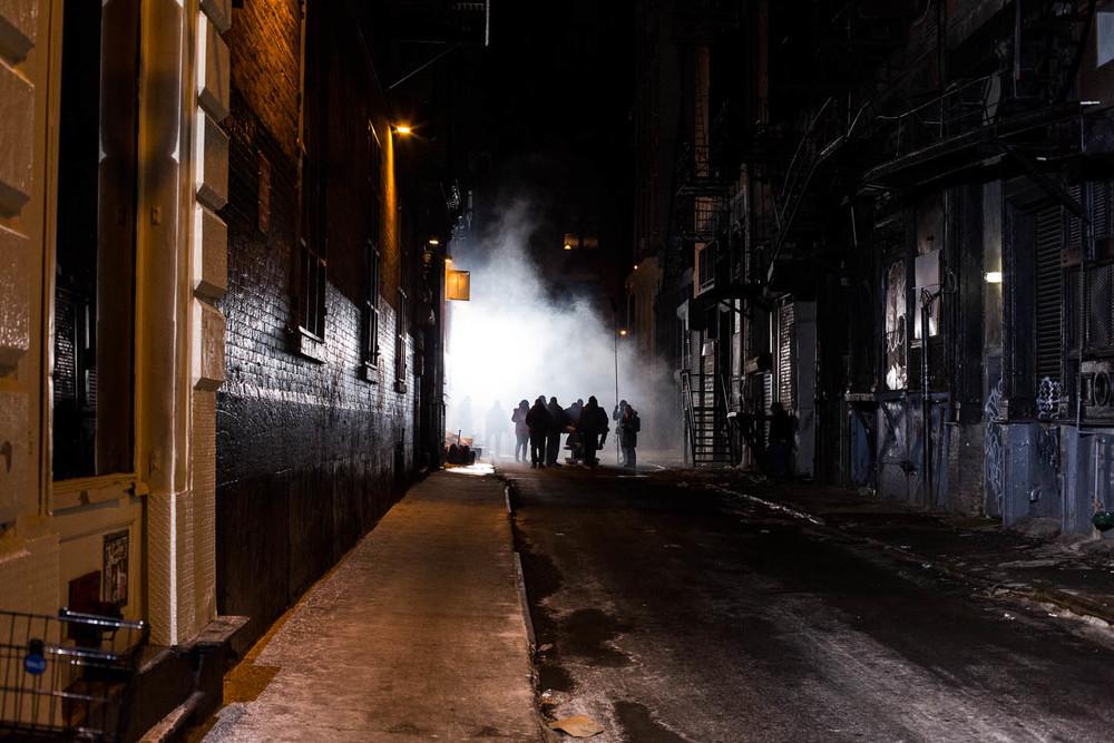 New York City, filmagem em um beco na região de Chinatown