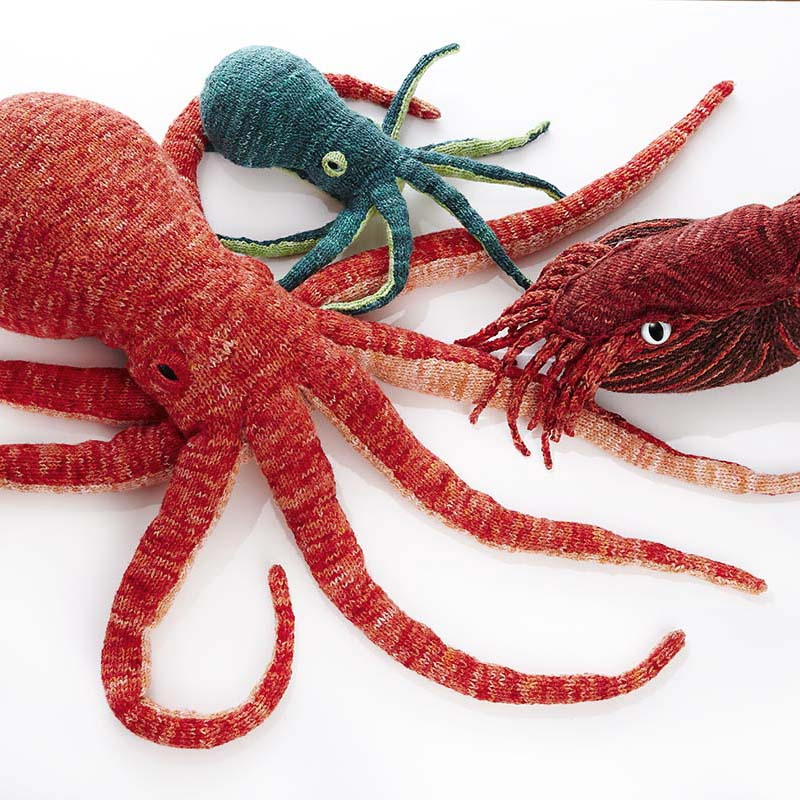 Cephalopods Collection - Who doesn't need a life-sized, squishy, tentacled companion? Or better yet, a whole family of cephalopod friends?Opus the Octopus, Opie the Mini-Octopus, and Horatio the Nautilus are available as inclusive kits with speciality eyes, and 100% wool tentacle stuffing. Be sure to check out Inkling the Squid, too!