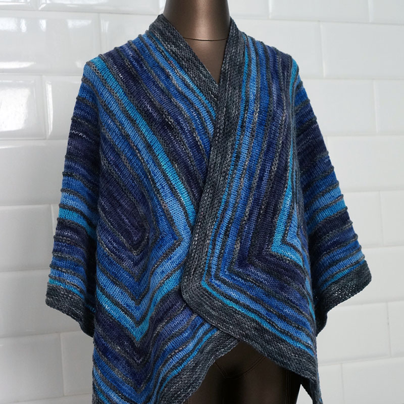 Echo Shawl in Helix, Blue Gradient version.