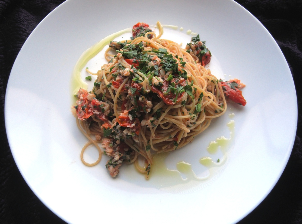 Spicy sea bass and tomato ragu with tagliolini