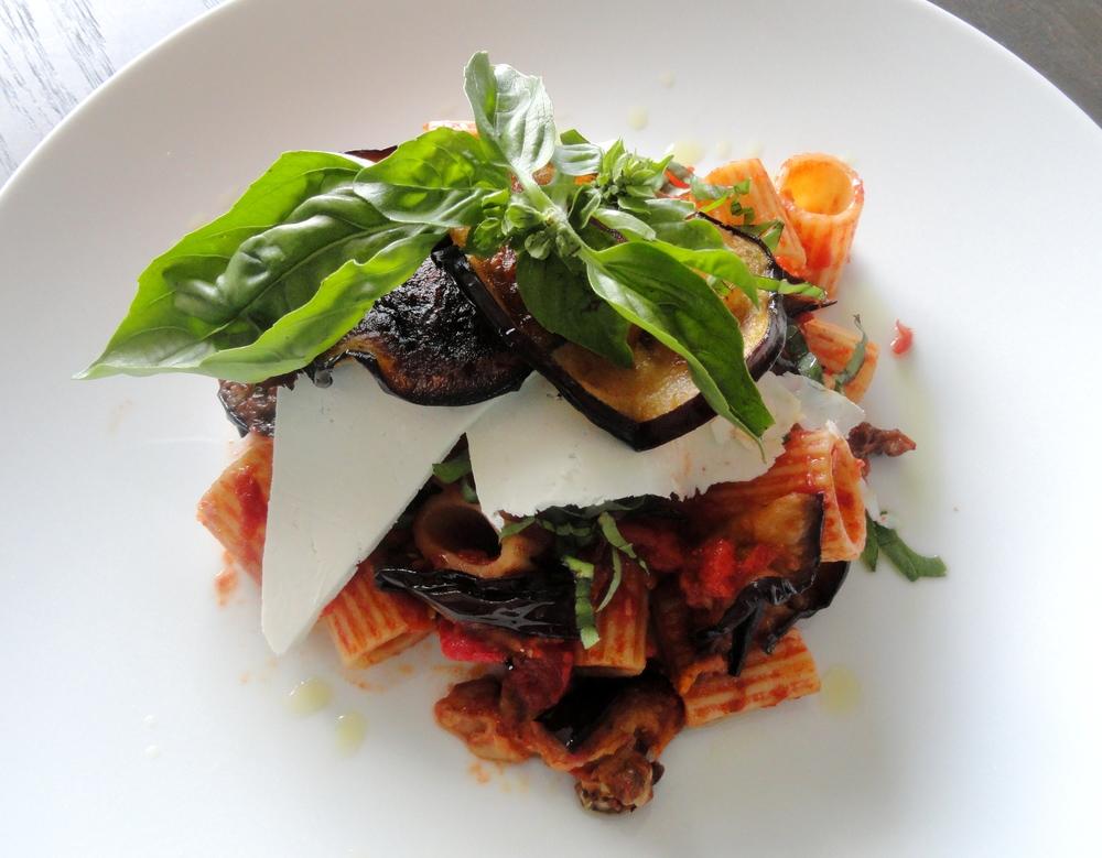 Rigatoni alla Norma: tomato, eggplant, ricotta salata and basil