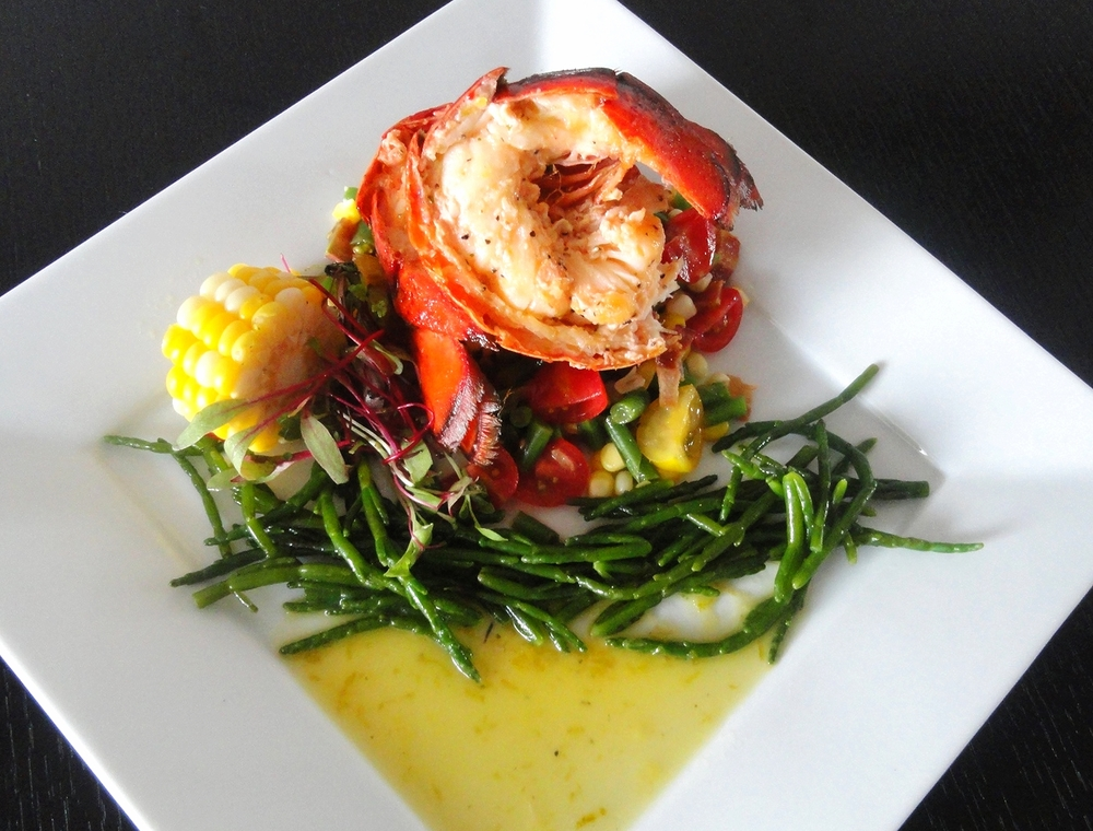 Lobster tail with summer succotash, sea beans, and a lemongrass beurre blanc