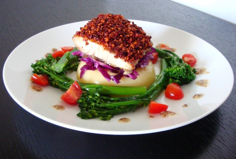beet and sweet potato chip-crusted sea bass, polenta, red cabbage slaw, and broccoletti with whole grain mustard sauce