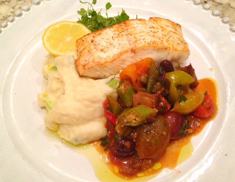 Seared halibut with garlic-mascarpone potato puree and Israeli vegetable ragout