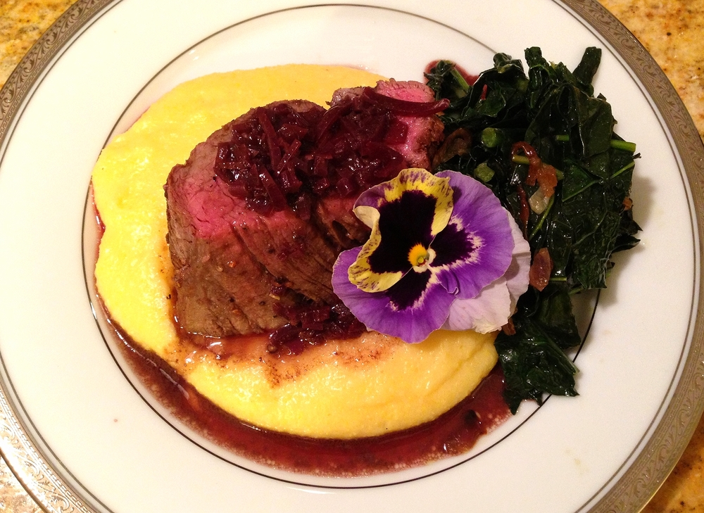Pepper-crusted beef tenderloin on soft polenta, Tuscan kale with garlic and peperoncino, and a barolo sauce
