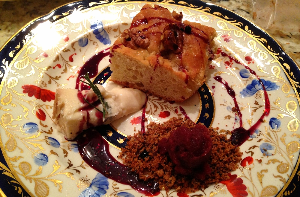 Rosemary-pecan focaccia, concord grape sorbetto on gingersnap crumble, gorgonzola dolce, spiced red wine sauce