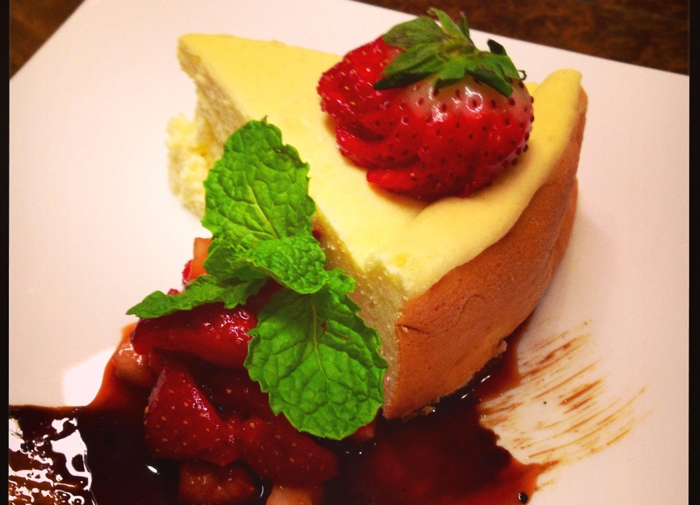 Roman torta di ricotta with balsamic berries and mint