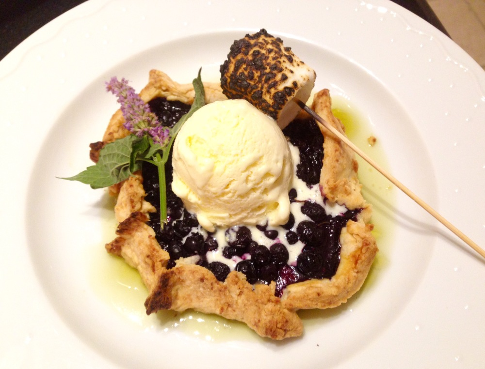 Blueberry tart with sweet corn ice cream, basil gelee, burnt marshmallow