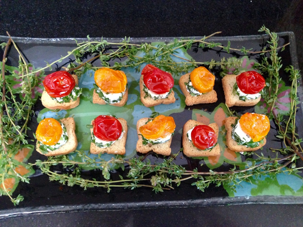 Herbed goat cheese with roasted tomato crostini