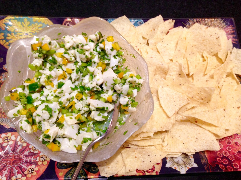 Spicy scallop ceviche with tortilla chips