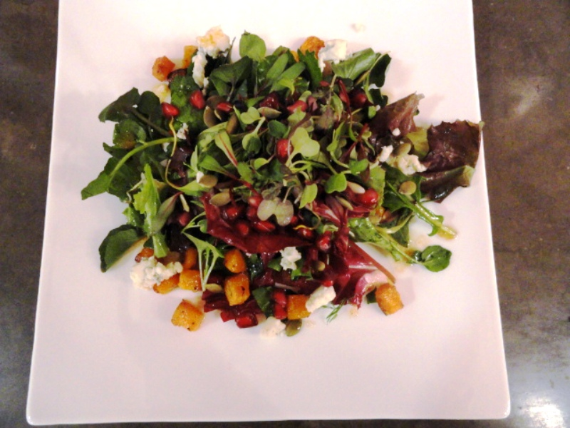 Watercress salad with pomegranate, butternut, blue cheese, pepitas.JPG