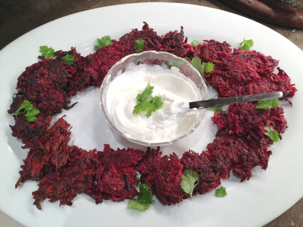 Beet and carrot latkes.JPG