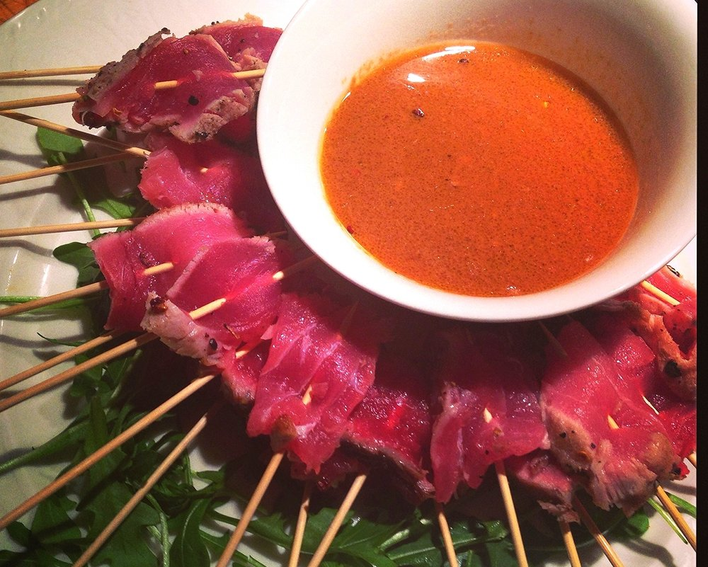 Seared ahi tuna skewers with orange-miso-soy dip