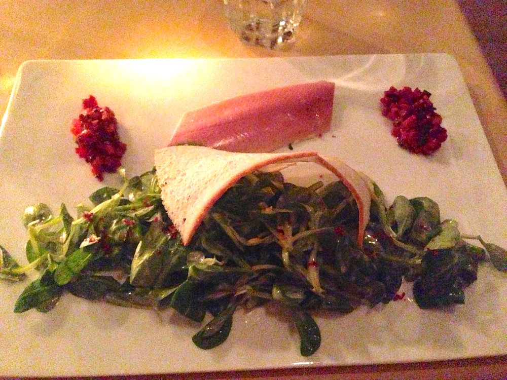 Kiosk smoked trout and mache salad with beets.JPG