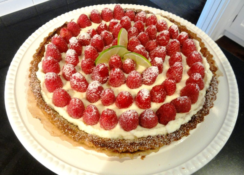 Raspberry tart with candied ginger-lime creme.JPG