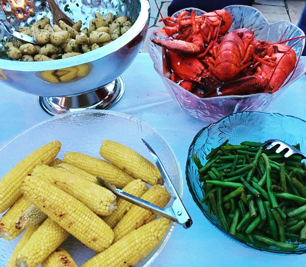 Lobster boil with local corn, fingerling potatoes, green beans