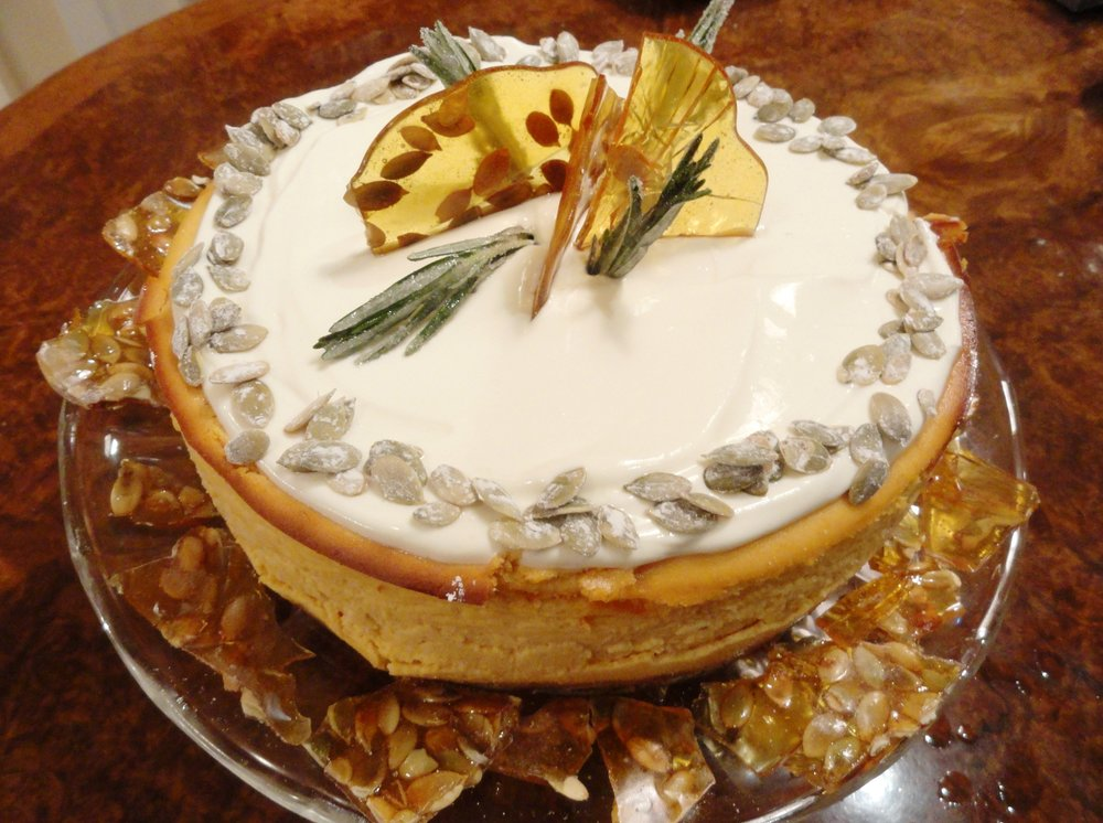 Pumpkin cheesecake with pumpkin seed brittle.JPG