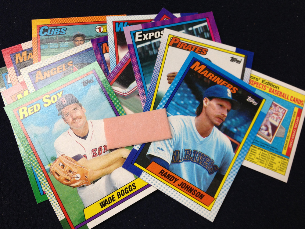 Sample cards and bubble gum from a TOPPS 1990 MLB pack: Wade Boggs and Randy Johnson.