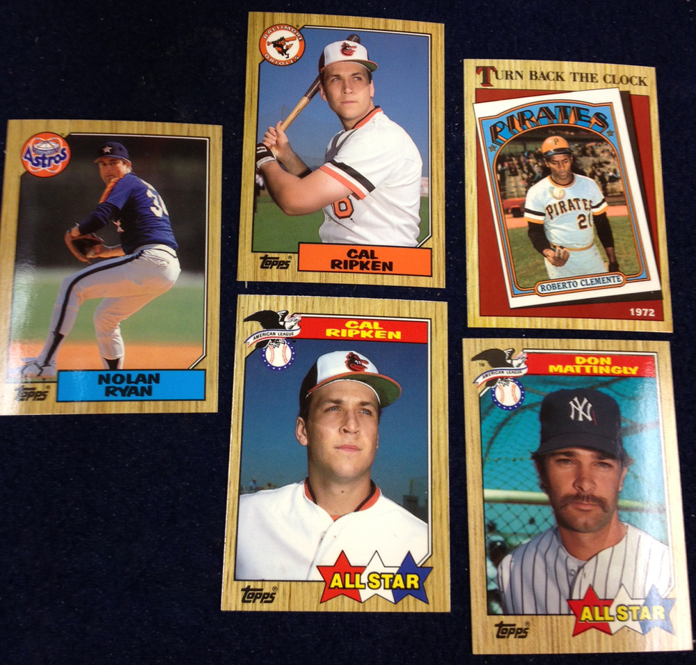 Sample Cards: Ryan, Ripken (2), Clemente, Mattingly.