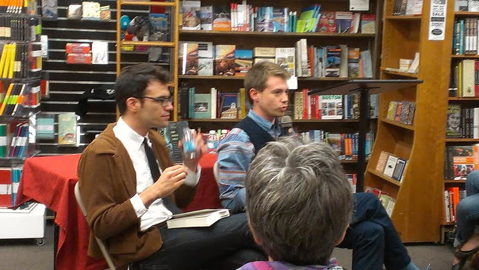 Oded Na'aman and Avner Gvaryahu discussing the weight of history and the present in their book Breaking the Silence: Israeli Soldiers' Testimonies from the Occupied Territories, 2000-2010 at the Harvard Book Store on 10/16/13