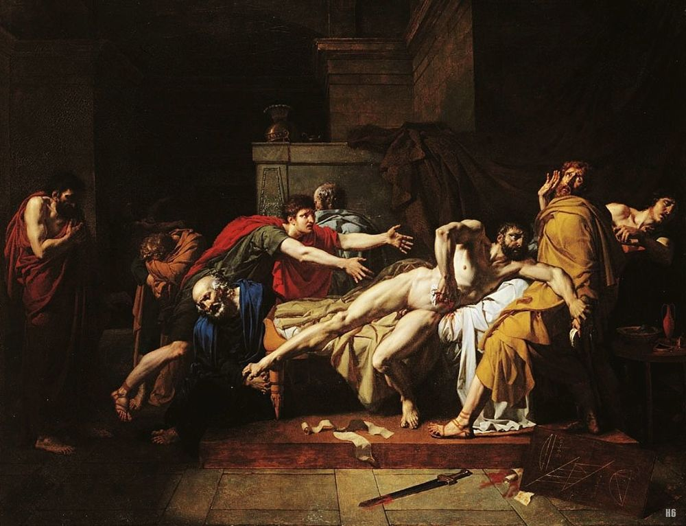 The Death of Cato of Utica by Pierre Bouillon, 1797