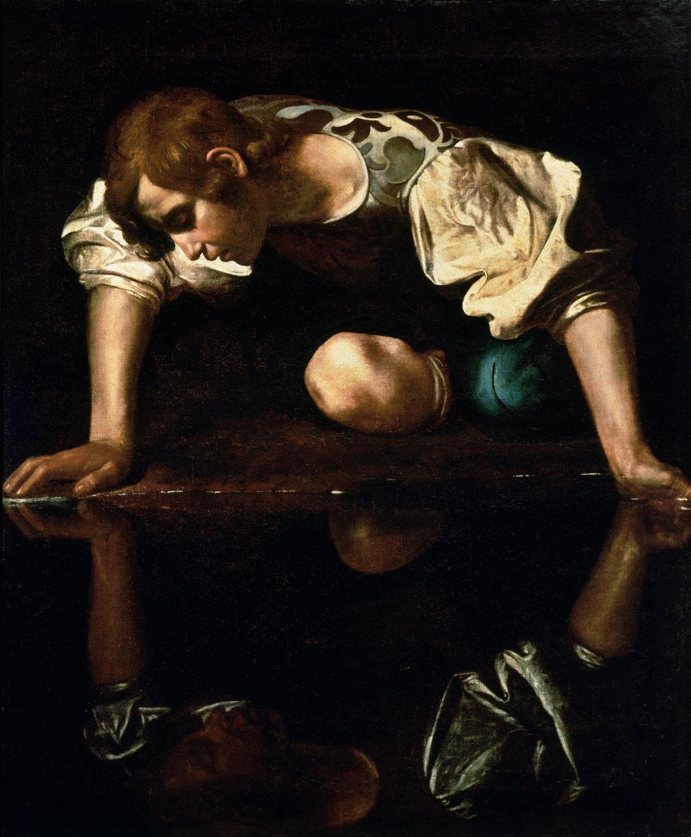 Narcissus by Michelangelo Merisi (or Amerighi) da Caravaggio, 1597-99