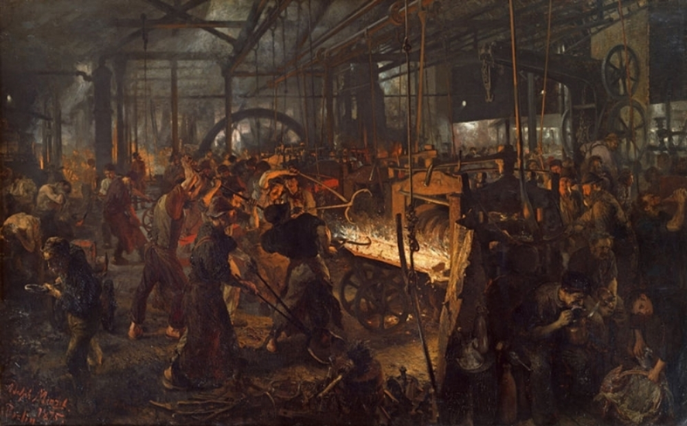 "Eisenwalzwerk (in English ""The Iron Rolling Mill - Modern Cyclopes"") by Adolph Friedrich Erdmann von Menzel, 1875"