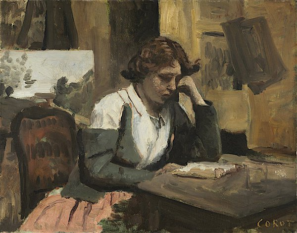 Young Girl Reading by Jean-Baptiste-Camille Corot, 1868