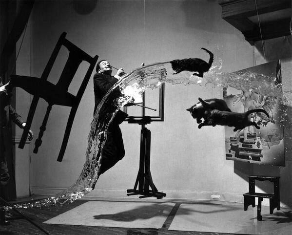 Salvador Dali (photographed) by Philippe Halsman, 1948
