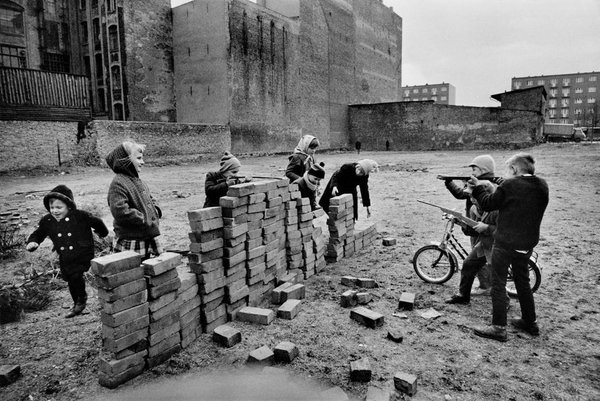 Children Playing 'Build the Wall' in West Berlin by Raymond Depardon, 1962