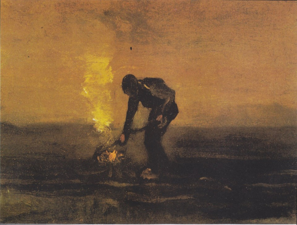 Peasant Burning Weeds by Vincent van Gogh, 1883