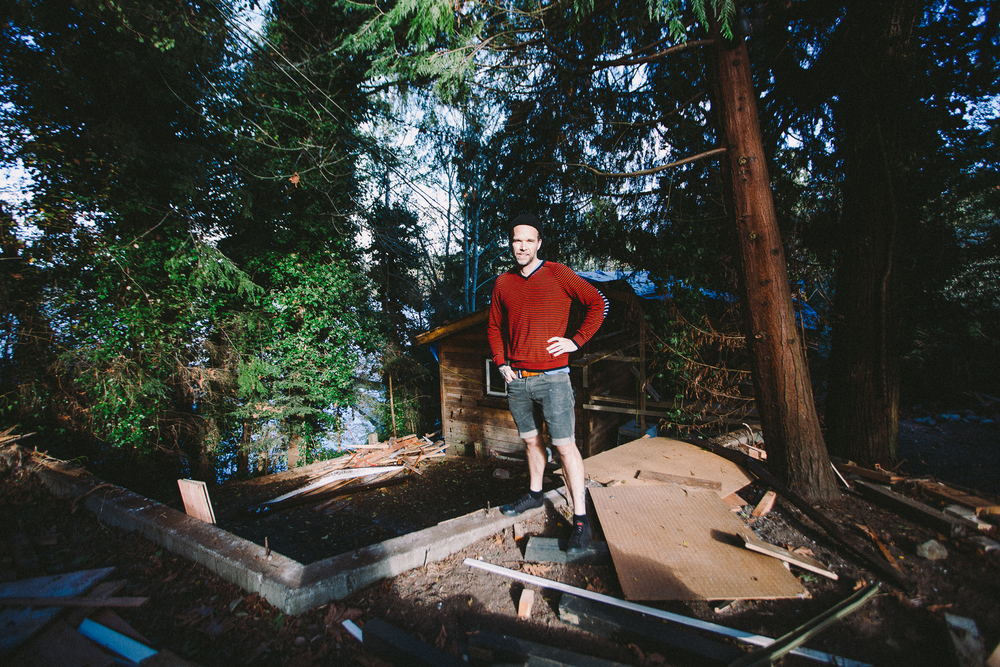 Bruce Livingstone in front of his in-progress property
