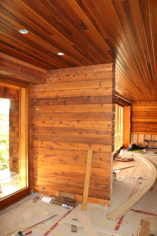 This is our Madrona Drive project, clad in Cedar paneling for walls AND ceiling
