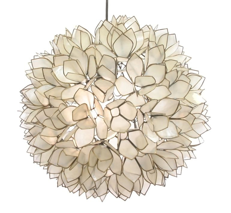 Lotus flowers in glass for lighting ( example of nature inspired glass pendant lighting )