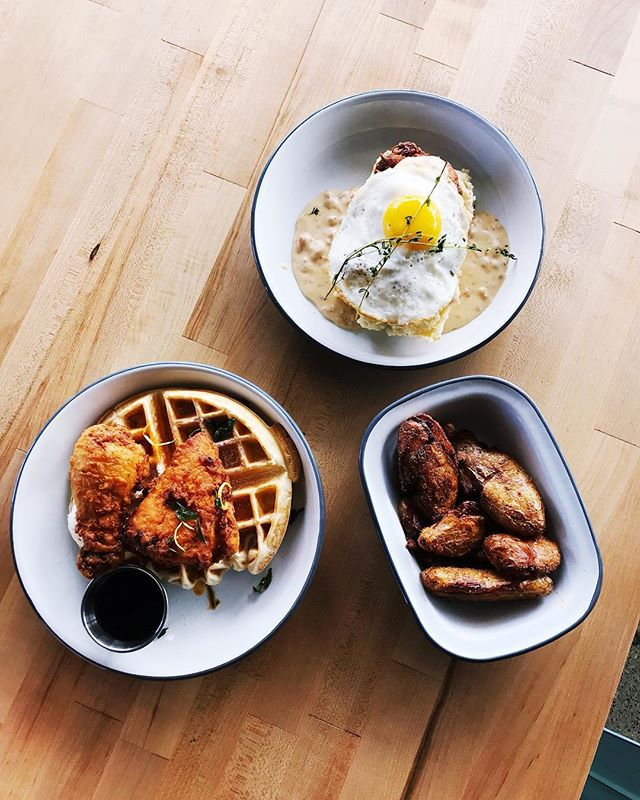For the (maybe) two people that missed #brunchwithjammy, well here's some good news... we back! Today we got hot chicken & waffle, perfectly seasoned potatoes 🥔, and a fried chicken & biscuits with an 🍳 on top. Classic brunch staples done well.