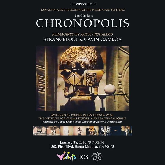 CINEMA OF THE VOID [ e1 ]  @gavartgamhag and I are very excited to be providing in real-time an alternate score to one of our favorite experimental films : Piotr Kamler's CHRONOPOLIS.  The event will take place at endless independent cinema temple VIDIOTS on the 18th of this month. Seating will be very limited so if it interests you be sure to get tickets at http://m.bpt.me/event/2724873  The event is produced by Teaching Machine in association with Institute for Cinema Studies and Vidiots. ///// CHRONOPOLIS tells the story of a gargantuan city lurking in a sky colonized by immortals who have become jaded with eternal life. Most of their time is spent monotonously constructing bizarre and unusual objects while waiting for the ultimate gift to arrive ... #experimental #chronopolis #vidiots #strangeloop #laskfarvortok #teachingmachine #rescore