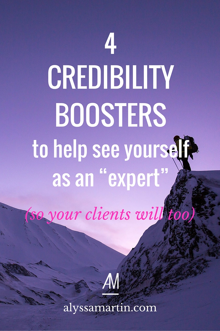 "It can be hard to figure out what makes you credibility. (And if you don't know, you won't be able to tell your clients why you're credible either.) These 4 types of credibility boosters will help you see yourself as an ""expert,"" so that you can build your know, like & trust factor with ease."
