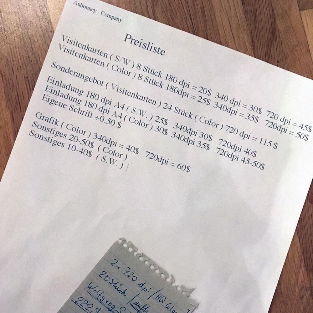 Preisliste (Original aus dem Jahr 1997)