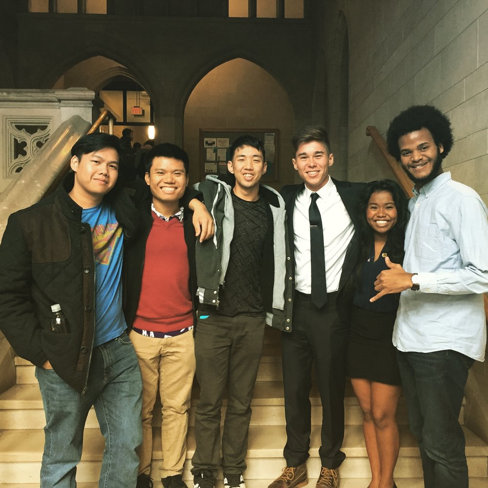 BJ, Kenneth, Drake, Giraldine, Jacques, and I in a well-lit Yale stairway.