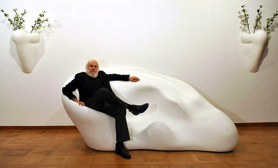 John Baldessari with  Ear Sofa and Nose Sconces , 2009