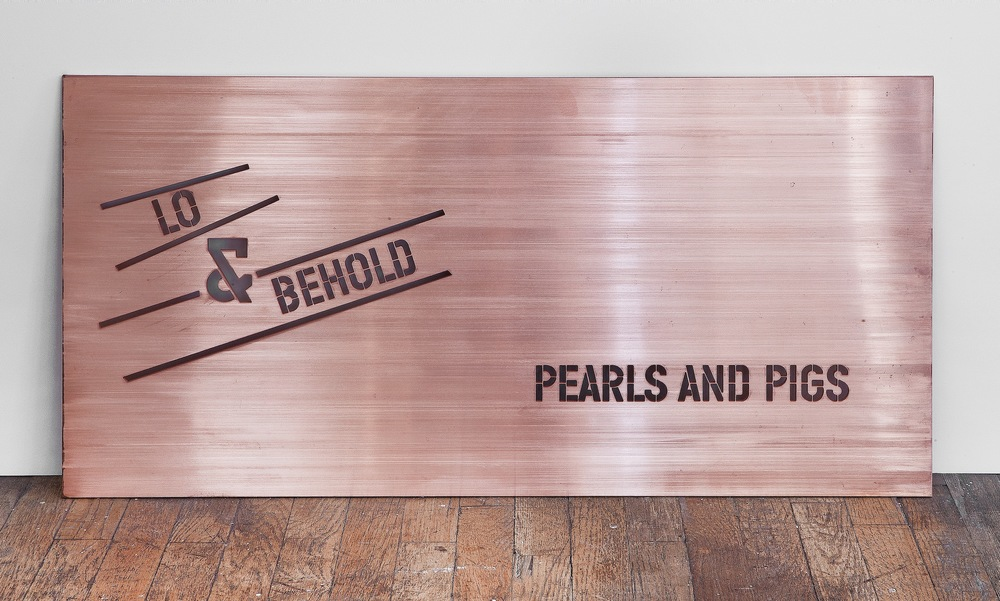 Lawrence Weiner edition copper plate Pearls and Pigs.jpg